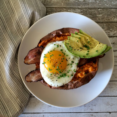 Bacon and Egg Stuffed Sweet Potato
