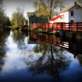 Along The Lehigh Canal by Kenneth Cox - City,  Street & Park  Historic Districts ( waterscape, reflections, waterscapes, springtime, canal )