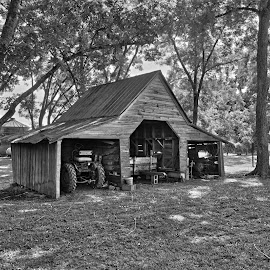 Old Barn by Robert Mullen - Black & White Buildings & Architecture ( farm, agriculture, buildings, trees, farmland, barns, agricultural, tractor )