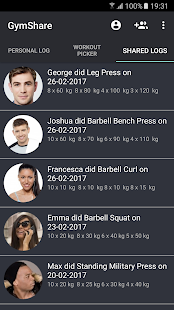 Gym Share - Shared Workout Log Fitness app screenshot for Android
