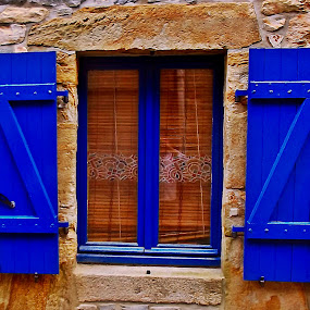 Window by Dobrin Anca - Buildings & Architecture Architectural Detail ( window, blue, street, brown, brittany,  )
