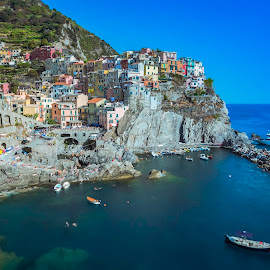 Manarola by Arif Sarıyıldız - City,  Street & Park  Vistas ( travel photography, manarola, colourful, long exposure, cinque terre, italy, liguria )