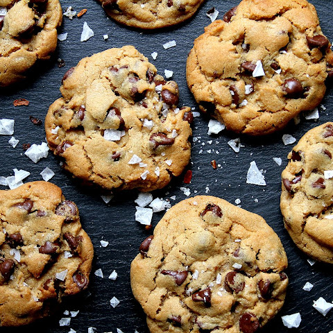 Spicy Peanut Butter Chocolate Chip Cookies with Chipotle Sea Salt