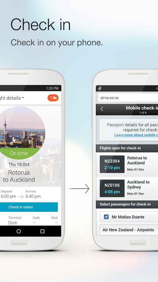 Air NZ mobile app Screenshot 3