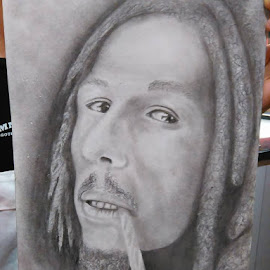 Finish this last night Marley with spliff by David Camp - Drawing All Drawing
