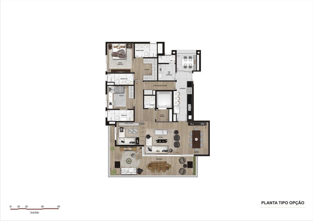 Planta Opção - 181 m²