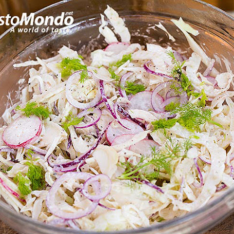 Fennel coleslaw recipe. Fennel, white cabbage, radish and red onion coleslaw.