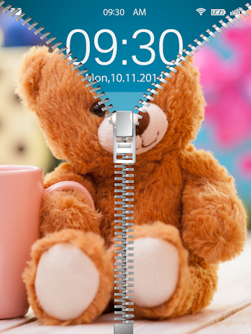 android Cute Teddy Bear Zip Lock Screenshot 3