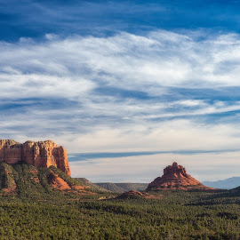 Red Mountains by Michelle Newport - Landscapes Mountains & Hills ( clouds, mountains, sky, arizona, red rocks, sedona )