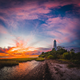 Lighthouse at Sunset by John Smith - Landscapes Beaches ( gulf coast, saint marks, wetland, florida, florida coast, lighthouse, wma, beach, samyang 14mm, salt water )