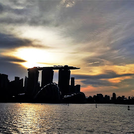 Silhouette by Suresh K Srivastava - Buildings & Architecture Office Buildings & Hotels ( skyline, dramatic clouds, sunset, architecture, barrage )