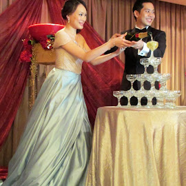 Champagne Glasses Pyramid  by Dennis  Ng - Wedding Bride & Groom (  )