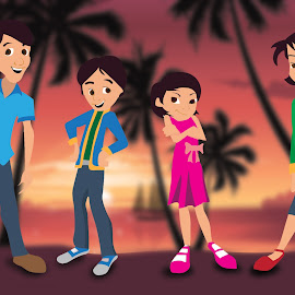 Vacation family by Charlie Alolkoy - Illustration Cartoons & Characters ( girl, mother, family, boy, standing, people, man, father, tropics )
