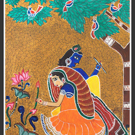 Madhubani Painting - Ancient folk art of India by Mili Shrivastava - Painting All Painting ( potrait, watercolor, painting, ancient art, madhubani )