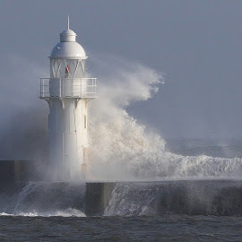 Test Me by Nigel Street - Landscapes Waterscapes ( waves, light house, storm )