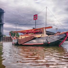 Boat by the lock chamber by Michal Fokt - Transportation Boats ( boat )