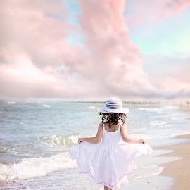 Water Fairy by Darya Morreale - Babies & Children Children Candids ( sand, sky, girl, waves, ocean, beach, barefoot )