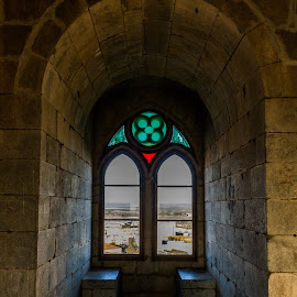 Take a breath by Alexandre Mestre - City,  Street & Park  Historic Districts ( beja, tower, window, bench, vista, stone, castle, medieval, historic, protugal, city )
