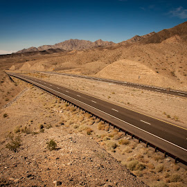 Road to Nowhere by Kevin Beasley - Transportation Roads ( southwest, mohave desert, arizona, road, lonesome road, tumbleweeds, desert, highway, lonely road, western usa, summer,  )