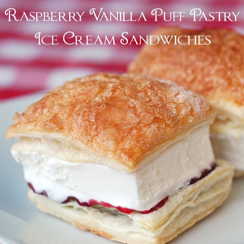 Raspberry Vanilla Puff Pastry Ice Cream Sandwiches