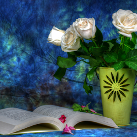 by Dipali S - Artistic Objects Still Life ( still life, roses, book, boquet, education, flowers, spring )