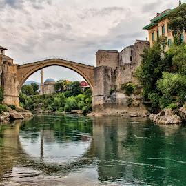 Stari Most (Mostar, Bosnia Erzegovina) by Gianluca Presto - City,  Street & Park  Historic Districts ( water, water reflection, reflection, hdr, stari most, old town, travel, architecture, historic, city, ancient, bosnia, bridge, river )
