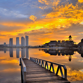 golden day by Azri Suratmin - Landscapes Sunsets & Sunrises ( azri, putrajaya, bridge, pillman, azrisuratmin, gold )
