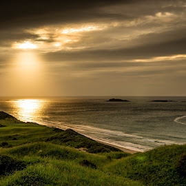 Lighting up the Links. by Eoin McCullagh - Landscapes Weather ( water, golf course, sky, ireland, portrush, summer, sea, sun, antrim coast )