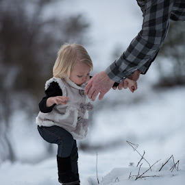Helping hand by Craig Lybbert - Babies & Children Toddlers ( help, girl, snow, helping hand, toddler )