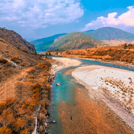 River in Punakha by Pravine Chester - Landscapes Travel ( landscapes, travel photography, punakha, places, hills, bhutan, river, travel, water )
