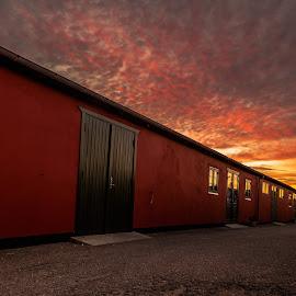 Morninglight by Jan Gjerlev Pedersen - Buildings & Architecture Other Exteriors ( clouds, building, windows, sunrise, city )