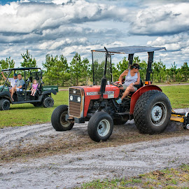 Watching mom work the land by Joe Saladino - People Family ( farm, family, land, working, tractor )