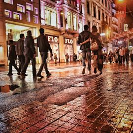 Couple at takśim street by Hasnain Rizvi - City,  Street & Park  Street Scenes ( couple, istanbul )