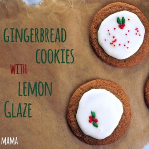 Chewy Gingerbread Cookies with Lemon Glaze