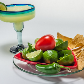It's Five o'Clock Somewhere by Myra Brizendine Wilson - Food & Drink Plated Food ( chips, food, mexican food, margarita glass, glassware, margarita, limes,  )