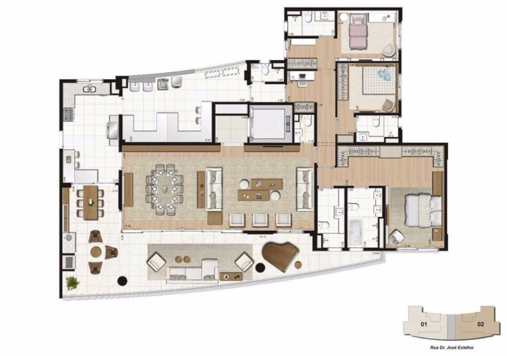 Planta 3 suítes - 271 m²