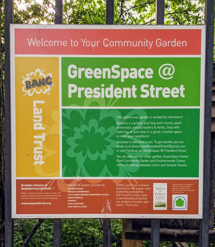 Welcome to Your Community Garden BANG Land Trust GreenSpace @ President Street This community garden is tended by volunteers! Become a member and help with chores, plant perennials, annual flowers & ...