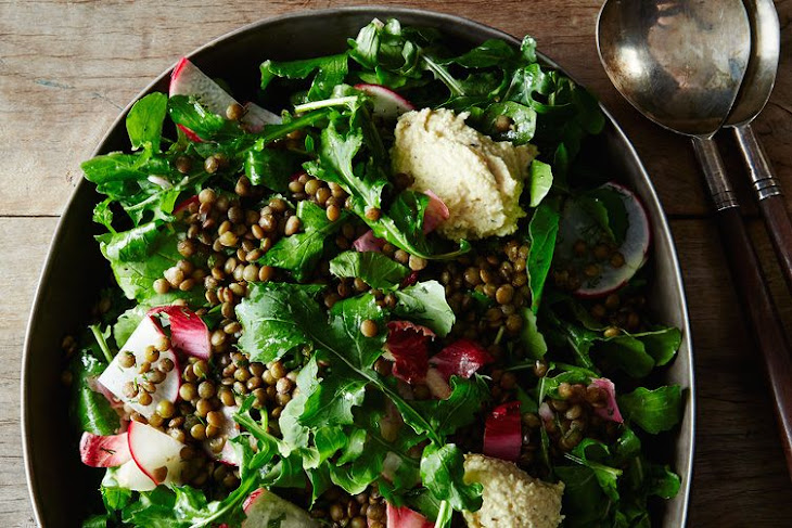 French Lentil and Arugula Salad with Herbed Cashew Cheese Recipe ...