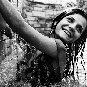 by Freddie Meagher - People Portraits of Women ( water, girl, black and white, pool, woman, candid, people, portrait )