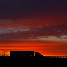 by Kristen O'Brian - Transportation Other ( orange, red, truck, sunset, semi, tractor, sun )
