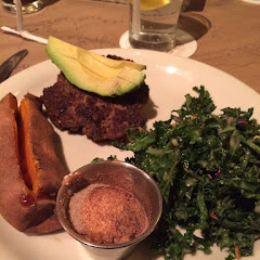 Great bunless burger w/kale salad and sweet potatoe! (They have GF buns if you want one)