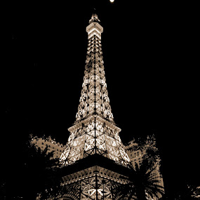 The Eiffel Tower, Las Vegas by Karen Santilli - Buildings & Architecture Statues & Monuments ( las vegas, eiffel tower, paris, white, night, black )