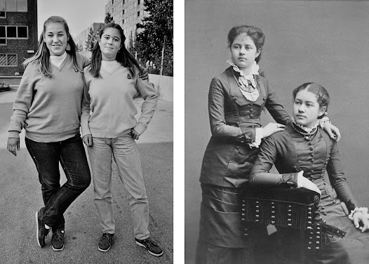 In the late 19th Century, cameras were expensive, heavy and required a lot of light. It was very difficult to take snap shots. Most portraits were taken in a studio and you had to stand still for a long time in order to get a sharp image. That's why it's rare to see smiling people in old photos.
