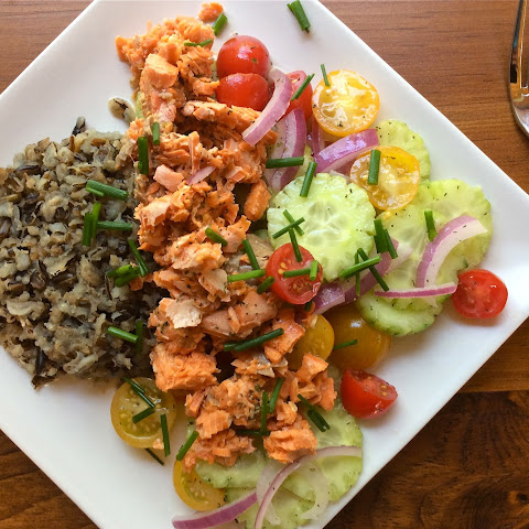 Salmon and Wild Rice Salad with Marinated Vegetables