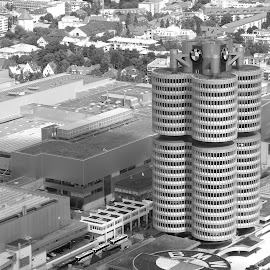 by Adriana Popescu - Black & White Buildings & Architecture ( munich, black and white, bmw, germany )