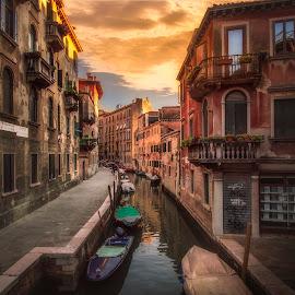 Fondamente de le Sechere by Ole Steffensen - City,  Street & Park  Street Scenes ( venezia, boats, street, venice, bridge, canal, italy, fondamente de le sechere )