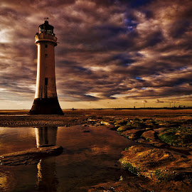 Perch Rock evening. by Bill Avergo - Landscapes Waterscapes ( sand, pool, lighthouse, beach, rocks )