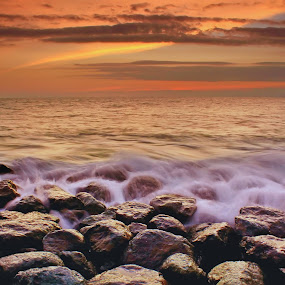 Lost Sunset by Dede GreenHolic - Landscapes Weather ( water, stone, seascape, landscape )
