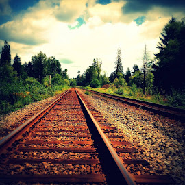 Destination Unknown by Ernie Kasper - Instagram & Mobile iPhone ( clouds, naturelovers, peaceful, canada, nature, railroad, langley, trees, scenery, landscape, bc )