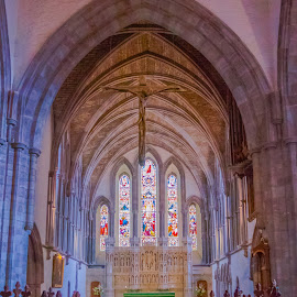 BRECON CATHEDRAL by Jennifer  Loper  - Buildings & Architecture Places of Worship ( altar, pews, stained glass, wales, arch, windows, brecon, crucifix )